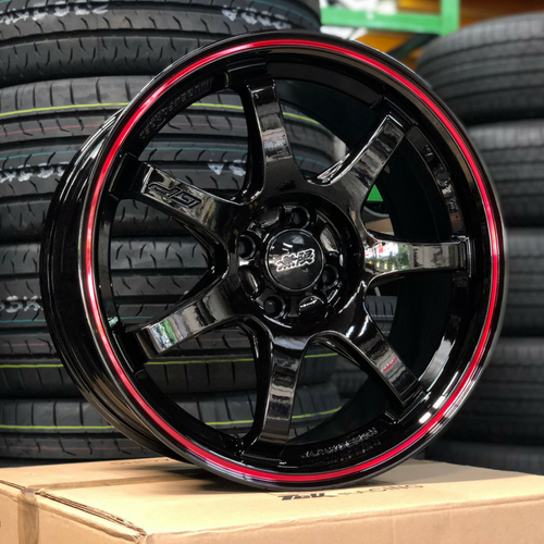 MUGEN GP Design Rim (GLOSS BLACK WITH RED LINE)